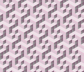 seamless tilable pink 3d isometric cube pattern