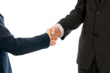 Handshake unrecognizable business man and woman isolated poster