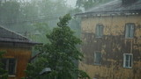 Hard rain with wind in city