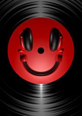 Vinyl headphone smiley red
