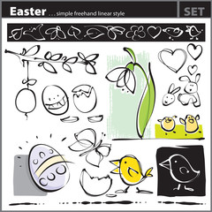 Easter set (freehand drawing style)