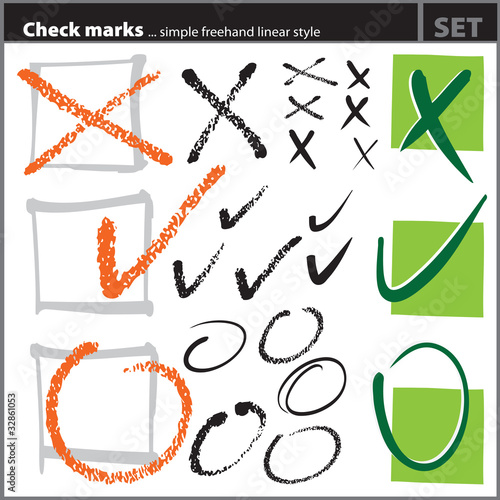 Check marks set (freehand artistic style)