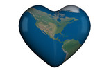 Heart shape with global map