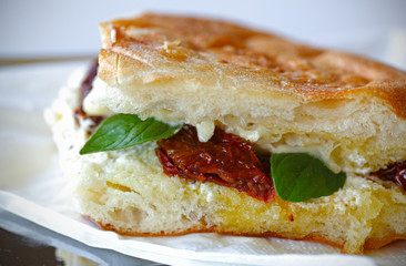 Grilled sandwich with fresh cheese and sun dried tomatoes