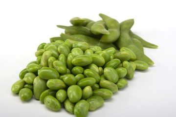 Edamame soy beans in a pile