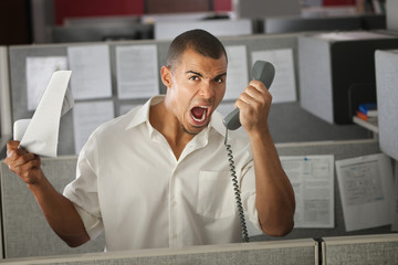 Office Worker Yelling On Phone