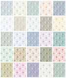 Set of rhombus seamless patterns. 25 color versions set. poster