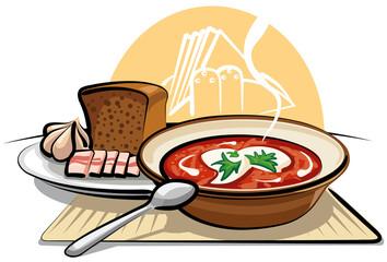borscht soup and garlic with ham
