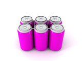 3d illustration of six violet aluminum cans