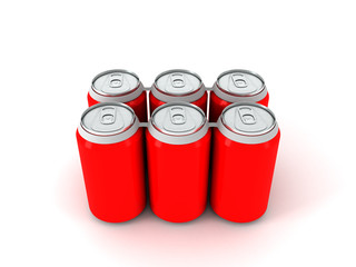 3d illustration of six red aluminum cans