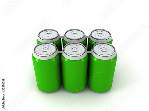 3d illustration of six green aluminum cans