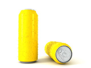 3d illustration of two yellow aluminum cans