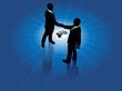Global business men handshake world agreement