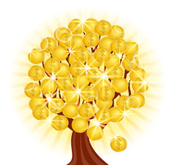 vector.  money tree with coins on sunny background