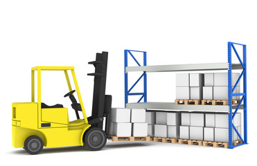Forklift and shelves. Part of a Blue Warehouse series.