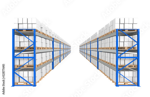 Warehouse Shelves. Part of a Blue Warehouse series.