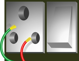 Illustration of electric socket isolated with wire