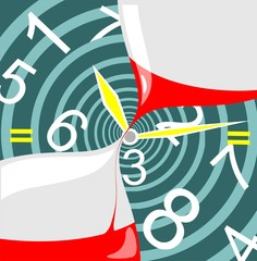 Illustration of time concept with clock and hourglass