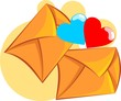 Illustration of  celebratory envelop with two heart