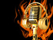 Microphone on abstract fire musical background