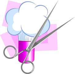 Illustration of shaving crème and scissors