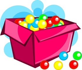 Small candy in red gift box