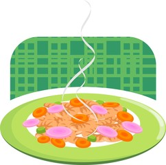 noodles with carrot and tomato