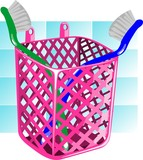 Illustration of basket with tooth brush