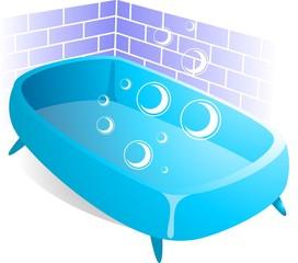 illustration of blue bath tub with soap bubble