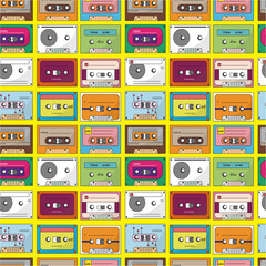 music tape seamless pattern