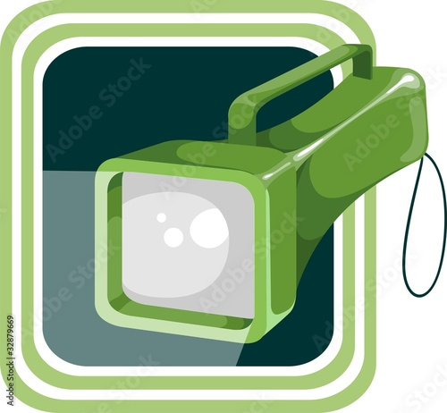 electric pocket flash light with green handle