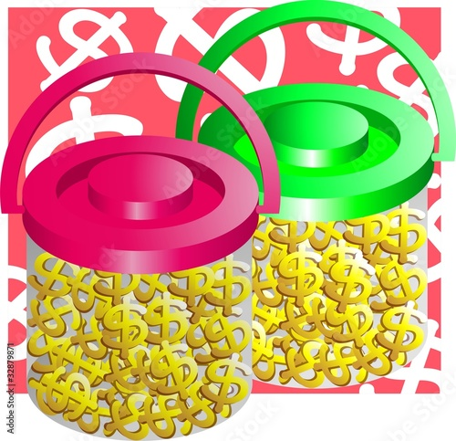 Illustration of glass jar full of dollar sign