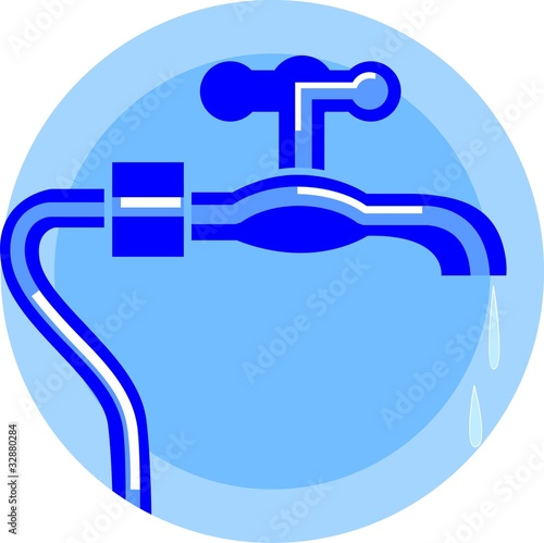Illustration of silver metallic tap on blue background