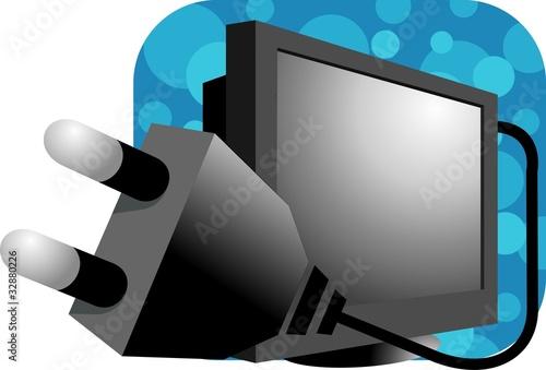 Illustration of computer with plug