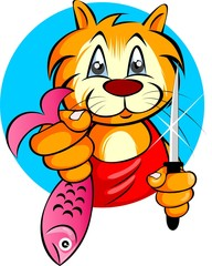 Illustration of cartoon kitten holding fish