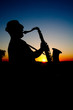 Saxophonist at sunset 2