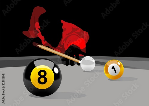 Illustration of a man playing pool
