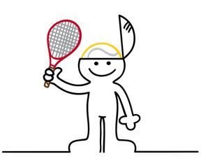 figur hat tennis im kopf