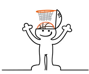 figur hat basketball im kopf