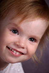 The happy face of the little girl