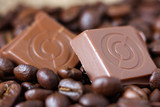 Cubes of chocolate coffee beans background