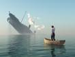 Leinwanddruck Bild - rescued man in boat looking on shipwreck