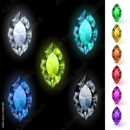 Marquise-cut colorful gemstones collection