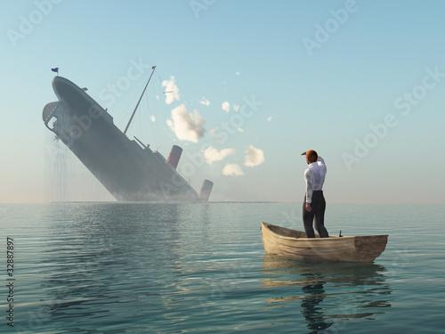 Leinwanddruck Bild rescued man in boat looking on shipwreck