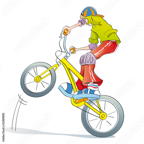 boy practicing bike pirouettes