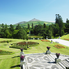 Powerscourt Gardens, Sugar Loaf Mountain at the background, Coun