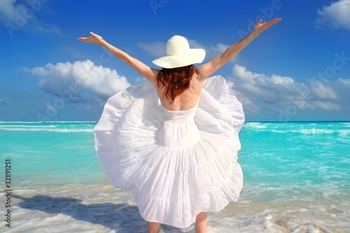 beach rear woman wind shaking white dress