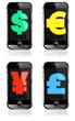 Pay by Mobile, Cell Smart Phone Dollar, Pound, Euro, Renminbi, Y