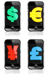Pay by Mobile, Cell Smart Phone Dollar, Pound, Euro, Renminbi, Y poster
