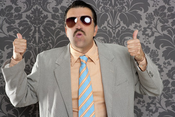nerd retro man businessman ok positive hand gesture